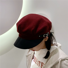 Newsboy-Cap Beret Octagonal British-Style Winter Women Black French-Hat Femme