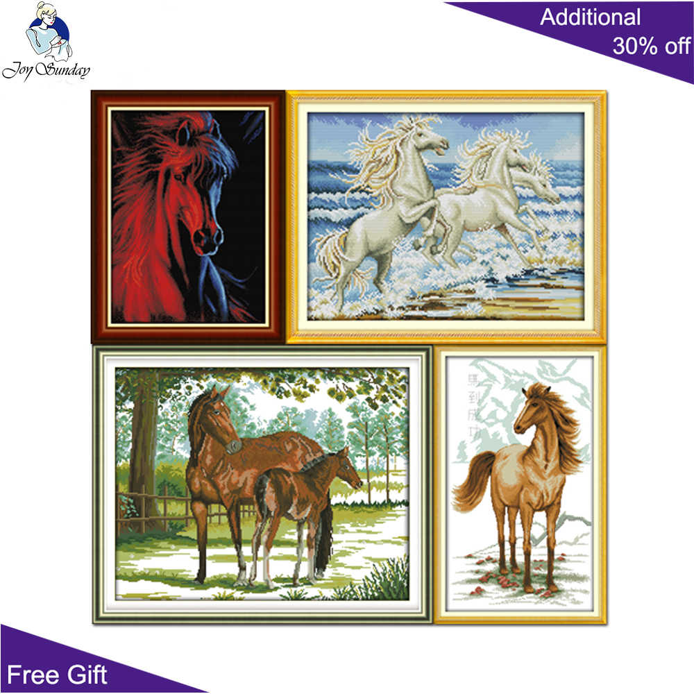 Joy Sunday Horse Home Decor D618(10)D766D842D904 Bring Success Ice And Fire Horse By The Sea Mother and Cub Cross Stitch Kits