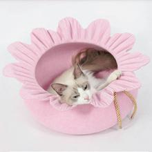 Funny Cute Flower Cats Nest Winter Warm Cat House Felt Dog Teddy Mat Supplies