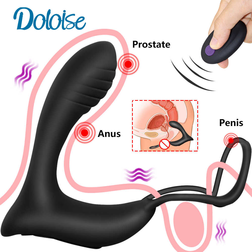 Male Prostate Massage Vibrator Anal Plug Silicone Waterproof Prostate Stimulator Butt Plug Delay Ejaculation Ring Toy For Men