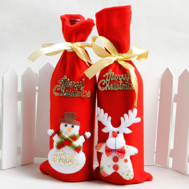 Christmas Fabric Wine Bottle Cover Draw String Cloth Wine Bag Decorations Snowman Elk For Home Party Decorations