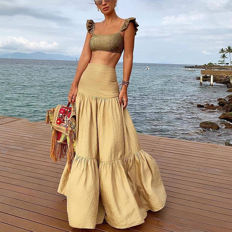 2019 Floral Print Two Piece Set Women Straps Beach Skirt Bohemian Suits Sexy Crop Tops And Maxi Skirt Set