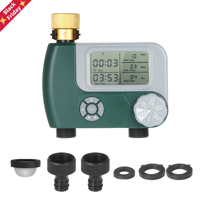 Digital Hose Faucet Timer Outdoor Battery Operated Automatic Watering Sprinkler System Irrigation Controller with 2 Outlet