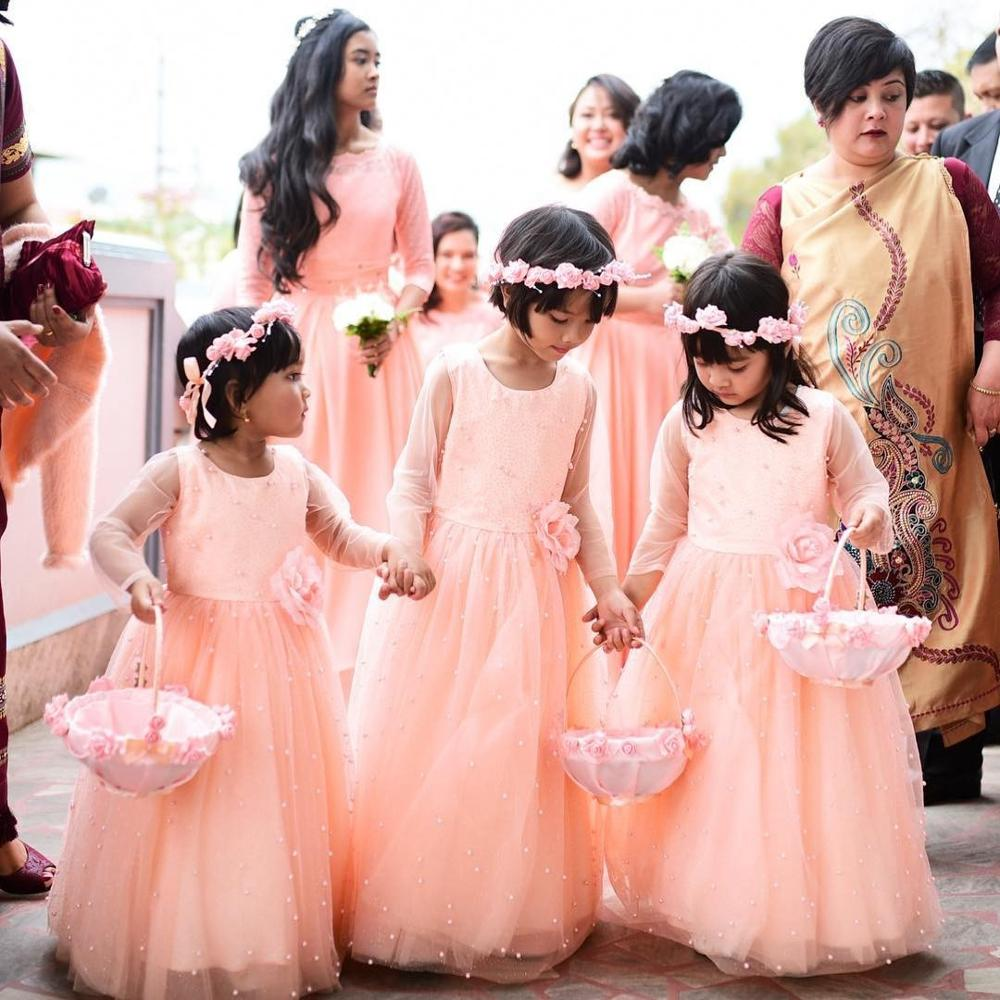 Dresses Flower-Girls for Jewel-Neck Long-Sleeve Pearls Kid Birthday Party-Gown Floor-Length