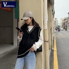 Vangull Women Vest Simple All-match Patchwork Korean Style V-neck Knitted Sweater Leisure Student Sleeveless Female Vintage Vest