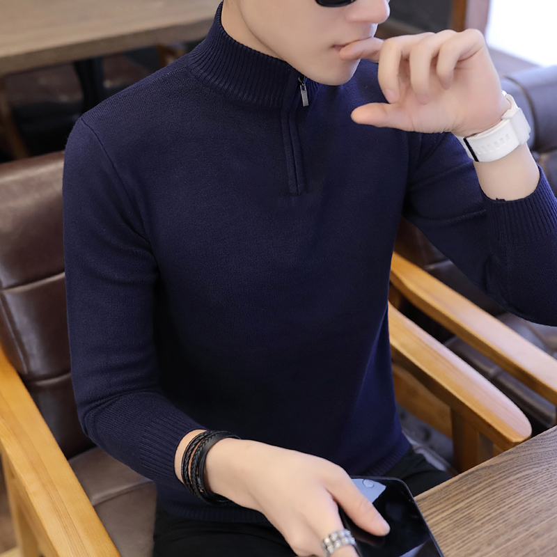 Men Sweater Zipper O-Neck Mens Pullover Sweater Male Coat Man Sweaters Pull Clothes Long Sleeve Homme Shirt Spring Autumn K271