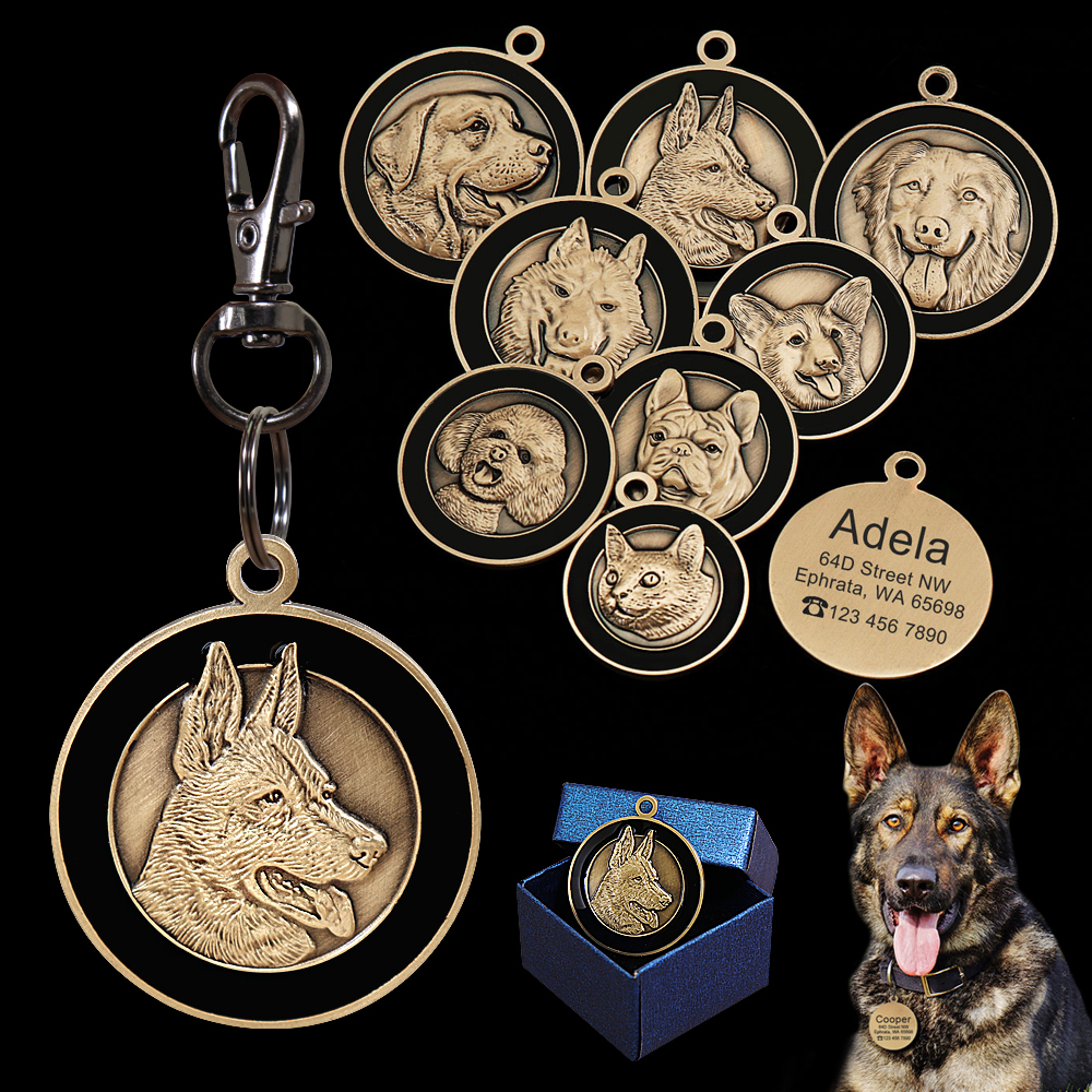Personalized Dog ID Tag Engraved Pet Dog Tags Collar Accessories Custom Puppy Cat Name Tags For Dogs Necklaces Pendants