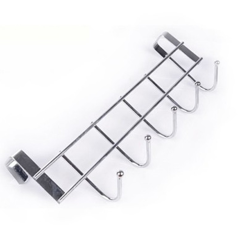Stainless Steel Door Hooks Bathroom Kitchen Home Organizers 5 Hook Towel Cleaning Cloth Hanger Hooks Mx8021443
