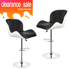 2PCS/pair Black Mixed White European Synthetic PU Leather Rotating Bar Stool Square Shaped Backrest Bar Chairs Bar Furniture HWC(China)