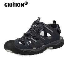 GRITION Men Outdoor Sandals Flat Casual Non Slip Quick Drying Male Beach Shoes Hiking Walking Breathable Fashion Big Size 46 New
