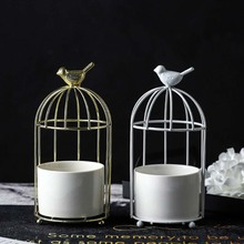 Hydroponic Ceramic Flower Pot Bird Cage Home Hollow Wrought Iron Stand Artificial Table Decoration