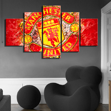 5 Pieces Watercolor Manchester United Sports Wall Football Flag Canvas Paintings Art Prints Pictures Posters Fans Bedroom Decor