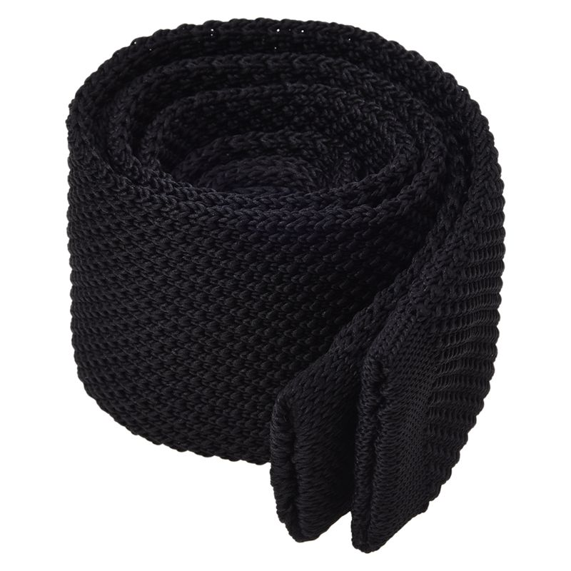 Men's Fashion Solid Tie Knit Knitted Tie Pure Color Necktie Narrow Slim Woven Black
