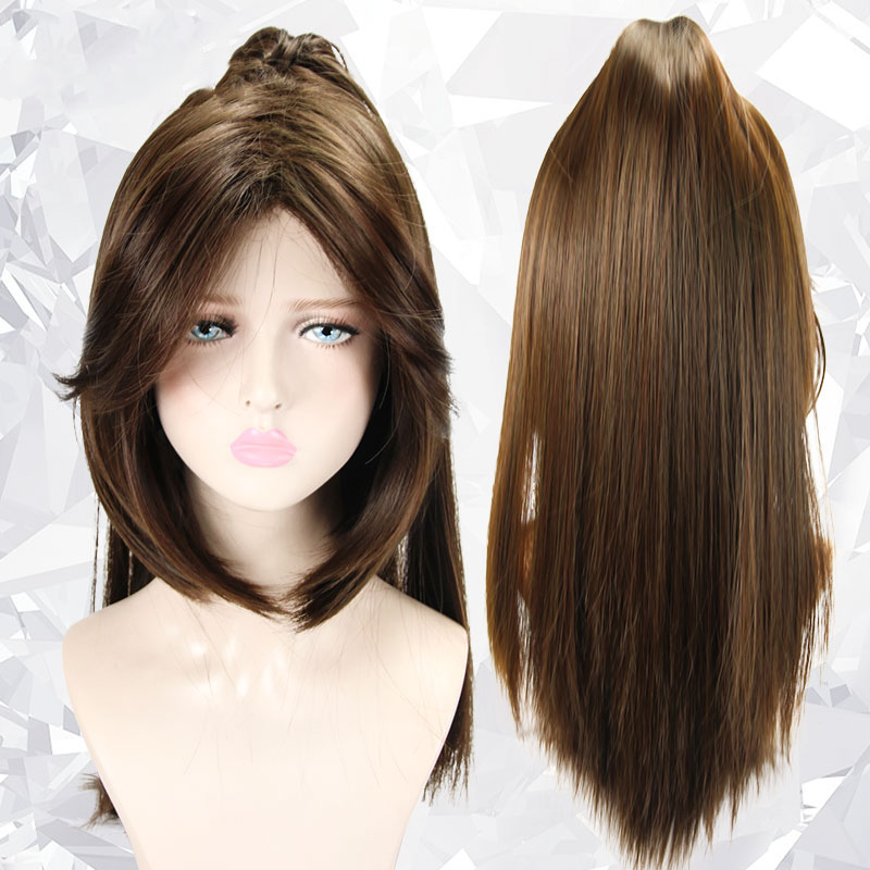 LVHAN Cosplay wig Long bangs and sideburns Dark brown Split Tiger's Mouth and Horsetail High temperature fiber