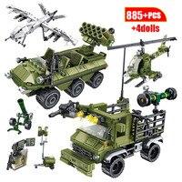 군사 도시 드론 발사 차량 빌딩 블록 기술 WW2 자동차 전투기 트럭 비행기 인물 벽돌 아이 장난감