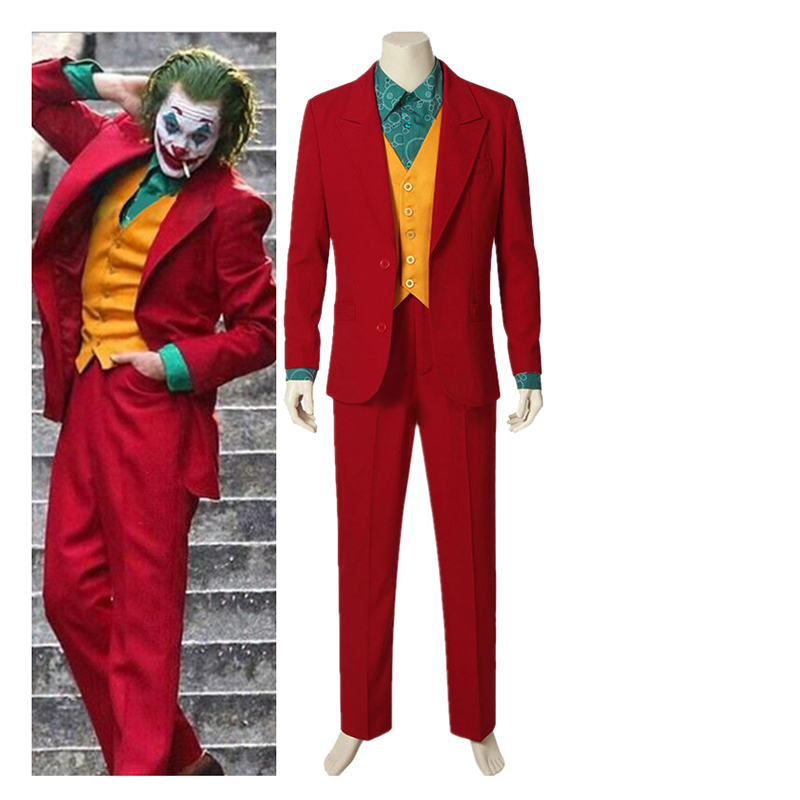 Movie Joker 2019 Joaquin Phoenix Arthur Fleck Cosplay Costume Suits Wigs Halloween Party Uniforms For Adult Kids