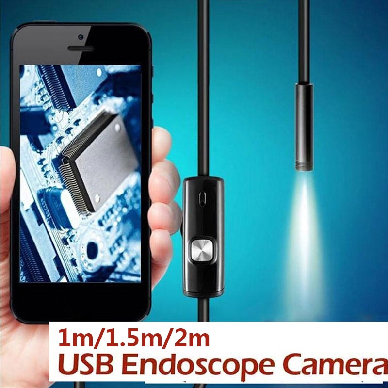 7mm Handheld Endoscope Ear Spoon Borescope USB IP67 6 LED Monitoring Mobile Phones Inspection Real-Time Video Photos Computers