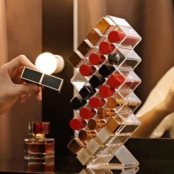 Organizador de maquillaje acrílico, 28 rejillas, caja de almacenamiento de joyería para lápiz labial cosmético, soporte de exhibición, organizador de maquillaje