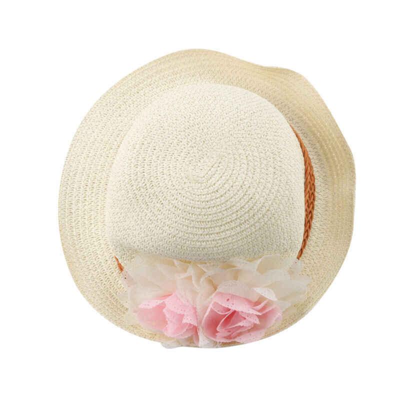 키즈 모자 소녀 여름 패션 꽃 밀짚 모자 통기성 Sunproof Sun Hat 베이지 화이트 핑크 카키
