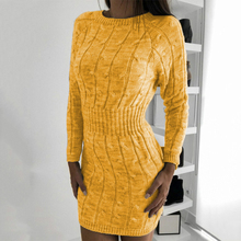 Green Bodycon Robe Sweater Dress Ribbed Office Fluorescent Elegant Autumn Winter Female