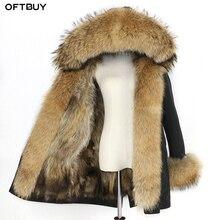 Водонепроницаемая парка, зимняя куртка для женщин, натуральный Лисий мех, подкладка, пальто, большой натуральный мех енота, капюшон, толстые теплые длинные парки, уличная одежда, новинка
