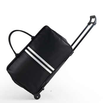 Women Trolley Bag on Wheels Large Men's Traveling Luggage Bags with Wheels Stripe Trolley Oxford Weekend Travel Bag Hand Luggage - DISCOUNT ITEM  40% OFF All Category