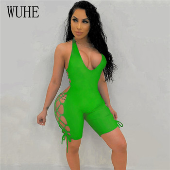 WUHE Sexy Side Lace Up Casual Playsuit Women Deep V Neck Halter Backless Shorts Jumpsuits Bandage Bodycon Club Party Romper wuhe two pieces set sexy lace patchwork jumpsuits women off shoulder sleeveless bodycon bandage romper party short playsuits