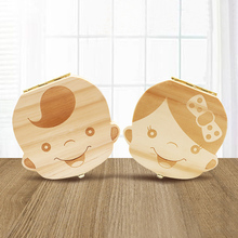 Baby Wooden Tooth Box French /English/Dutch/Russian/Italian Wooden Milk Teeth Organizer Storage Boys Girls Baby Souvenirs Gift