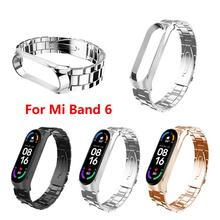 Strap For Xiaomi Band 6 Three-Bead Stainless Steel Replacement Fitness Bracelet Band Fashion Personality Smartwatch Wristband