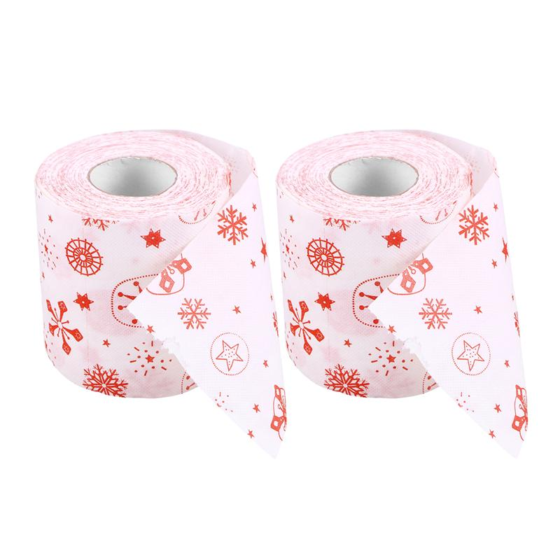 2pcs Creative Santa Claus Tissue Toilet Paper Roll Party Gift Merry Christmas Roll Paper For Home
