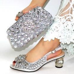 Zilver Kleur Schoen En Bijpassende Tas Voor Nigeria Party Afrikaanse Bruiloft Schoenen En Tas Set Italiaanse Vrouwen Bruiloft Schoenen En tas