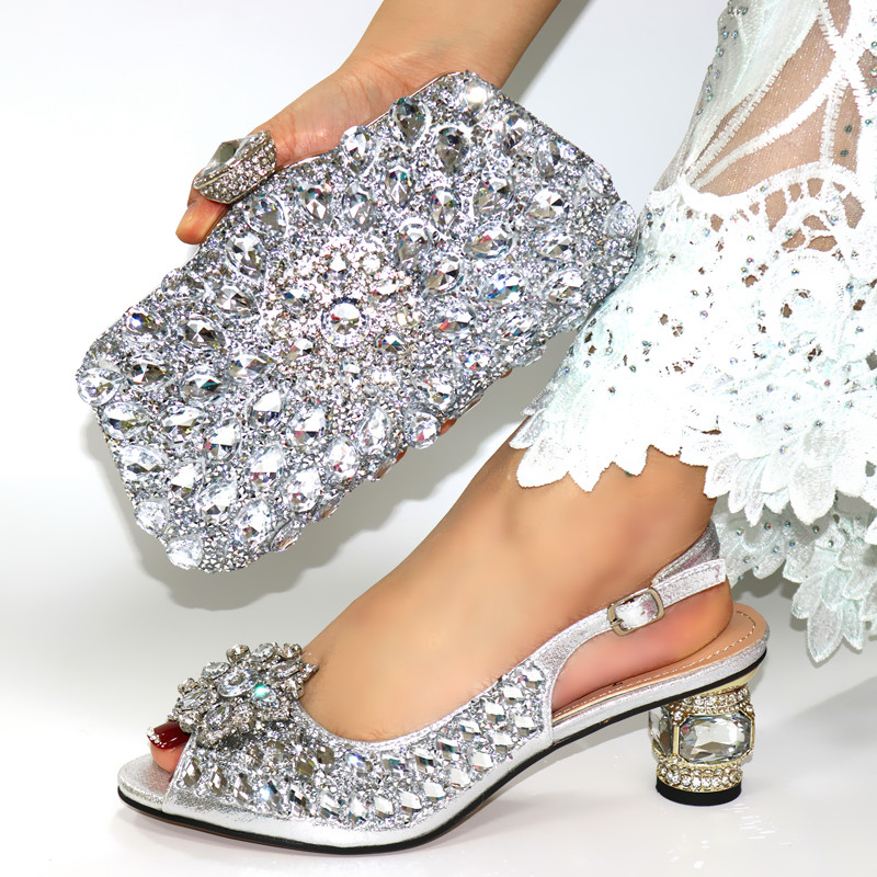 Silver Color Shoe And Matching Bag For Nigeria Party African Wedding Shoes And Bag Set Italian Women Wedding Shoes And Bag