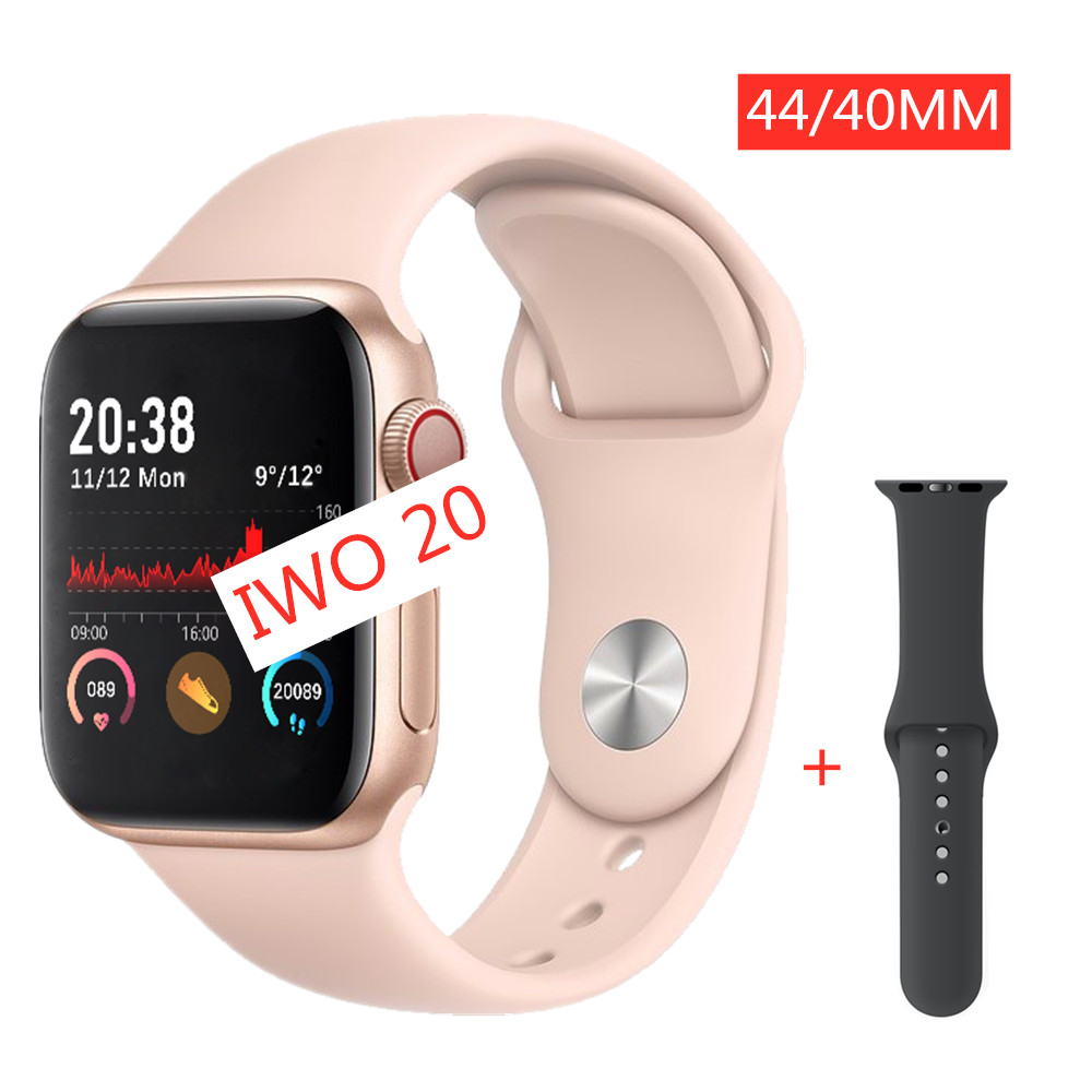 2020 IWO 20 Smart Watch 40/44mm TWO Straps Women Men Smartwatch Series 5 MTK2502C ECG Heart Rate Dial/Answer Call PK IWO 12