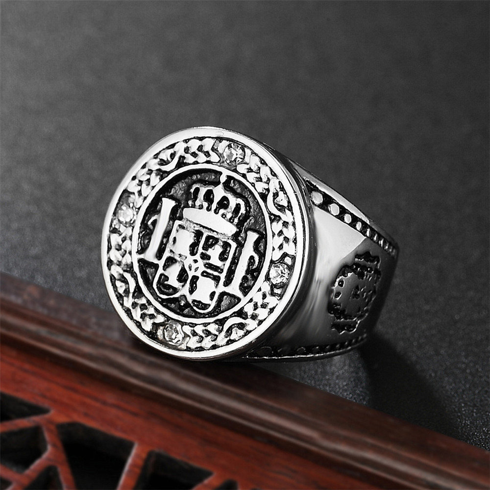 Crown Design Jewelry 316L Titanium Steel Finger Rings Gold Color King Casting Ring For Men Free Shipping in Rings from Jewelry Accessories