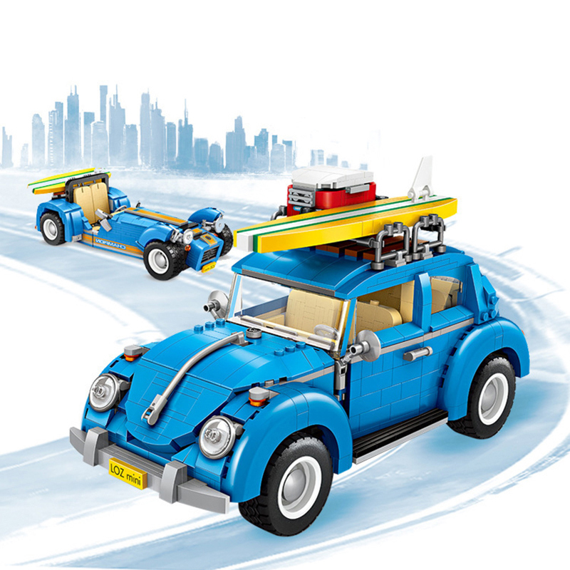 Mini Building Blocks 1392Pcs Creator Series Classic VW Vehicle Beetle Retro Racing Car 2 In 1 Assemble Toys For Children Gifts