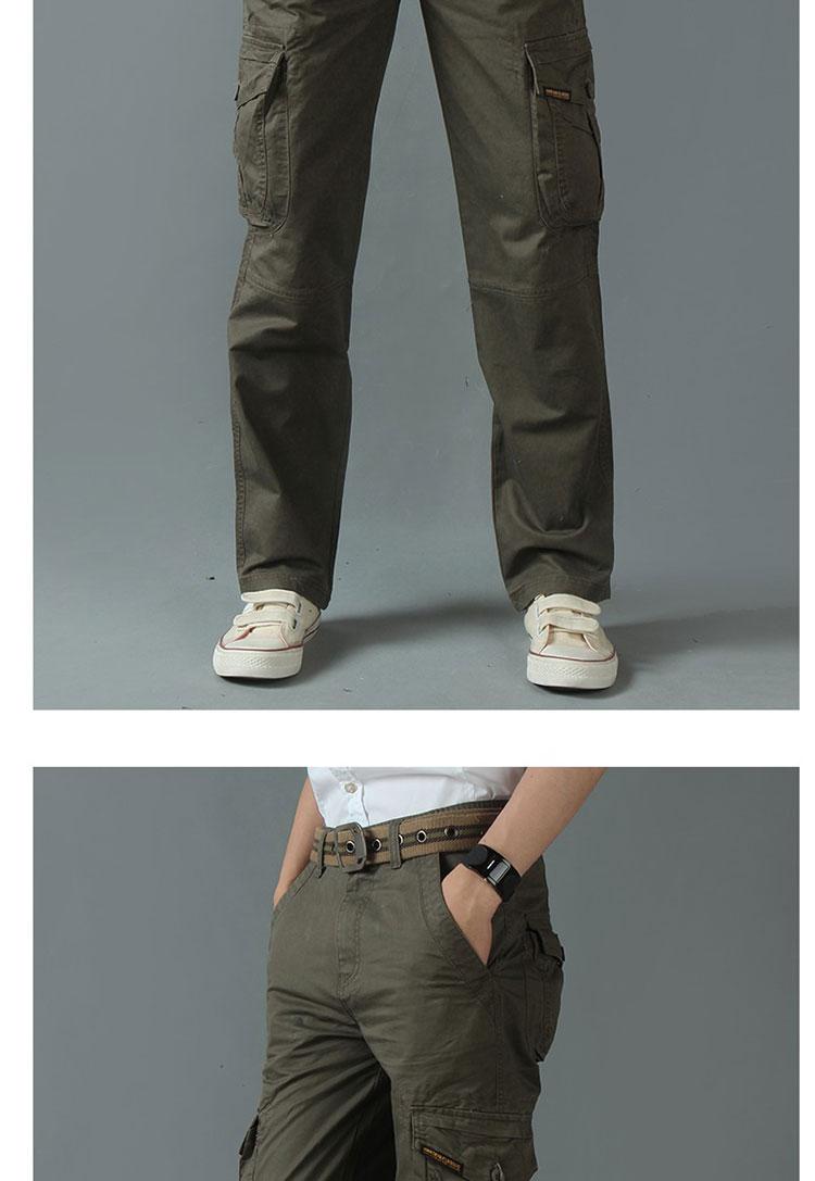 KSTUN New Men's Cargo Pants Casual Overalls 100% Cotton Straight Cut Male City Military Tactical Pants Men Loose Fit Trousers No Belt 16
