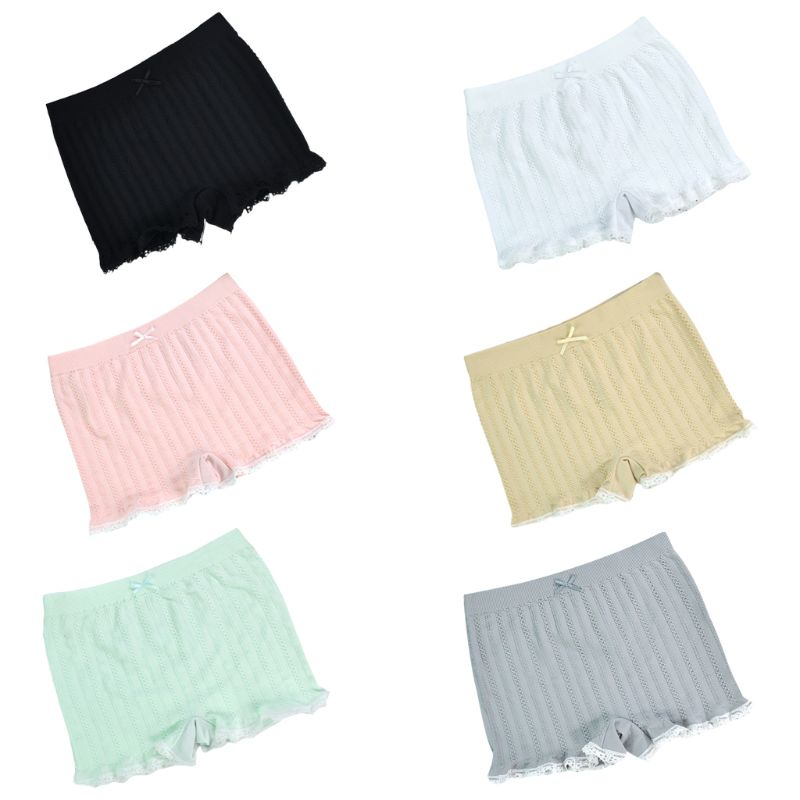 Japanese Women Girls Seamless Safety Shorts Candy Color Braided Striped Lace Trim Slim Lounge Pants Bowknot Stretchy Underpants