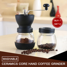 Washable Hand Coffee Grinder with Two Glass Sealed Jar Coffee Mill Maker Stainless Steel Mini Coffee Bean Grinder Machine portable manual coffee maker with coffee bean grinder all in one machine stainless steel coffee machine cafetiere cafetera