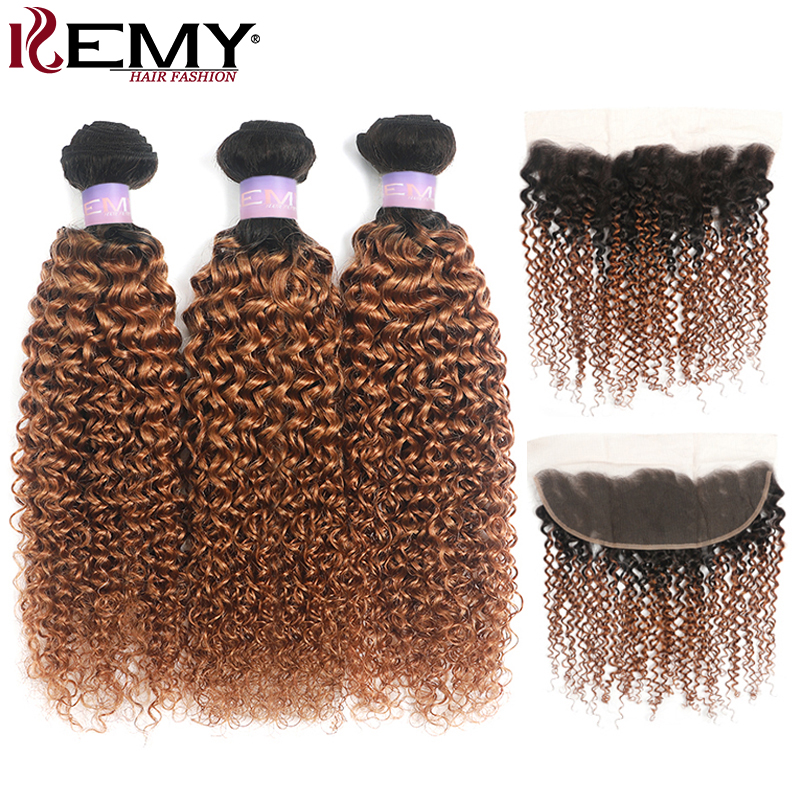 Brazilian Brown Kinky Curly Hair Bundles With Frontal 13x4 KEMY HAIR T1B/30 Human Hair Weave Bundles With Closure Non-Remy Hair