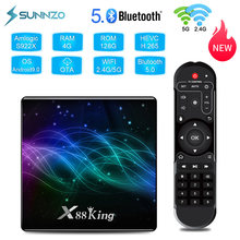 X88 rei smart tv box android 9.0 amlogic s922x 4k 4gb 128gb mídia playe youtube 60fps 2.4ghz & 5g wifi bt5.0 conjunto caixa superior