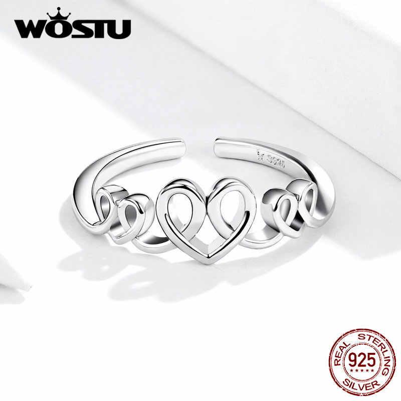 WOSTU 100% אמיתי 925 סטרלינג כסף פתיחת טבעות לנשים פשוט עיצוב אהבת צורת כסף מתכוונן טבעות תכשיטים CQR588
