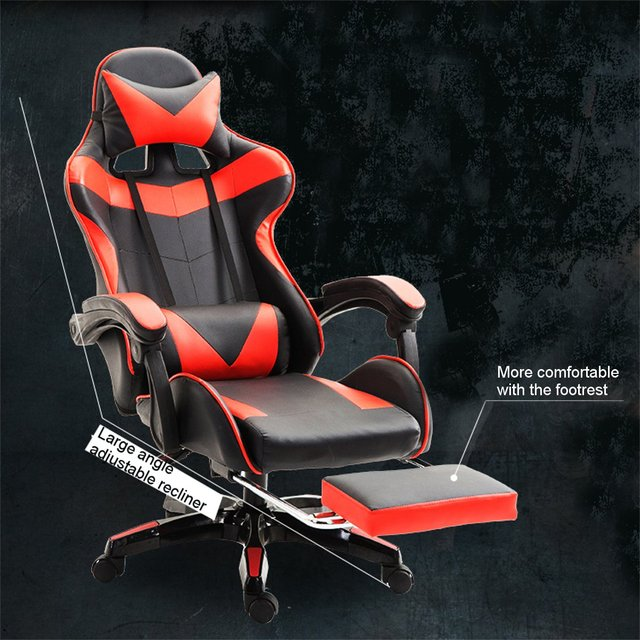 Professional PU Leather Racing Gaming Chair Office High Back Ergonomic Recliner With Footrest Computer Chair Furniture 5 Colors 2