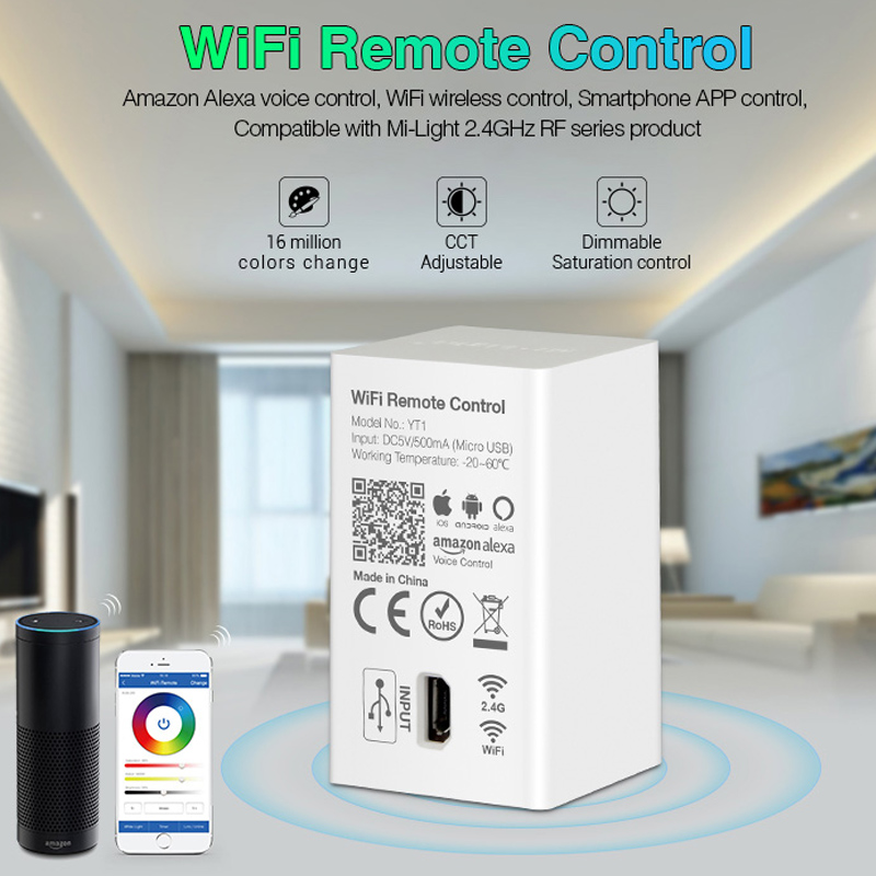 WiFi wireless Remote Control YT1 USB Led Amazon Alexa Voice Smartphone 4G App Control compatible 2.4G RF 5V image