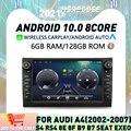 Автомобильный DVD-плеер Carplay 8 дюймов IPS Android 10 6G + 128 Гб навигация GPS 4G LTE RDS Аудио для SEAT EXEO Audi A4 S4 8E B7 радио 2002-2012