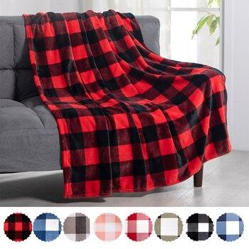 Patrón de rejillas Rojas textil para el hogar manta de lana Coral en la cama suave a cuadros cálido sofá de invierno de viaje cubrecama a cuadros