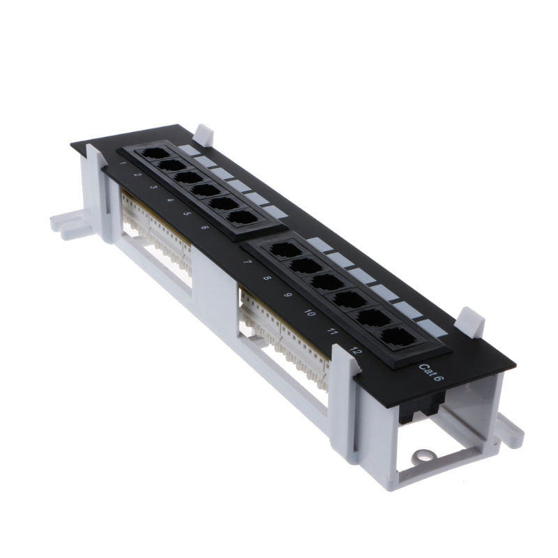 Network Tool Kit 12 Port CAT6 Patch Panel RJ45 Networking Wall Mount Rack Mount Bracket O28 19 Dropship