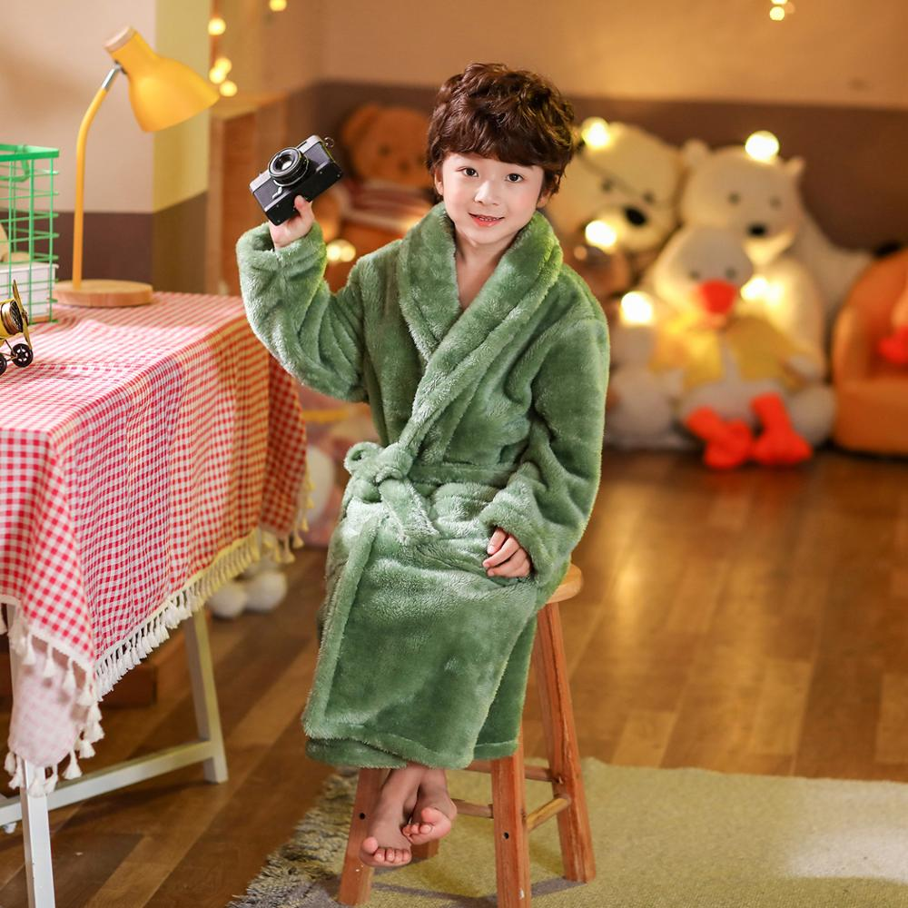 2021 new delivery children clothes winter boy girl pajama Flannel robe baby Bathrobe home clothes 3-12year 6