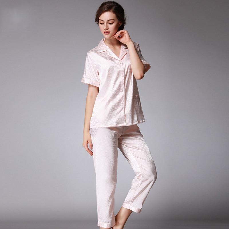 Classic Style Silk Pajamas WOMEN'S Short-sleeved Clothes Trousers Set Jacquard Pajamas Suit Micro Source