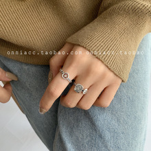 Smiley Chain Pentagram Portrait Ring Female Index Finger S925 Sterling Silver Fashion Personality Simple Tide