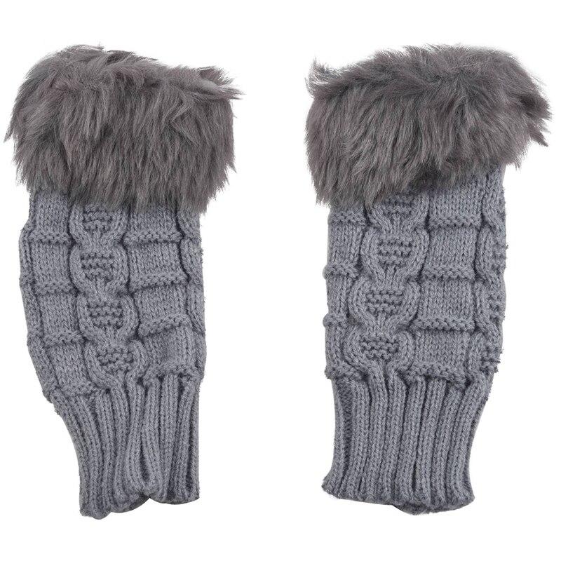 Women Faux Rabbit Fur Hand Wrist Winter Warmer Knitted Fingerless Gloves Gift-Grey